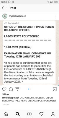 LASPOTECH SUG notice on alleged postponement of exam