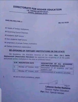 Zamfara State announces resumption of Tertiary institutions
