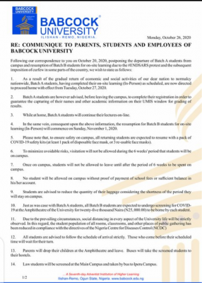 Babcock University notice to students, staff and parents