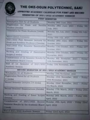 TOPS academic calendar for 2021/2022 session