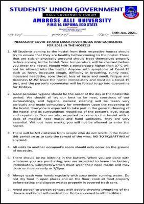 AAU necessary COVID-19 and Lassa Fever rules and guidelines for students in the hostels