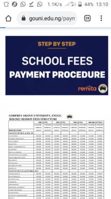 Godfrey Okoye University 2020/2021 school fees schedule