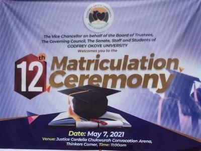 Godfrey Okoye University announces 12th matriculation ceremony