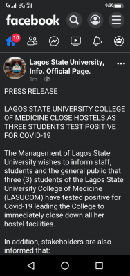 LASU college of medicine shuts hostels as three students test positive for COVID-19