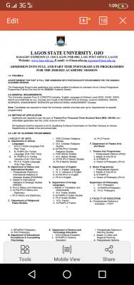 LASU Postgraduate Admission Form For 2020/2021 Session