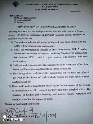 Sa'adatu Rimi College of education notice on continuation of 2019/2020 Session