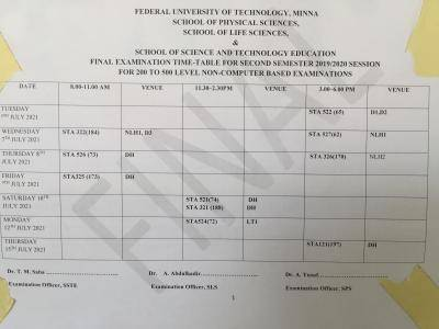 FUTminna 2nd semester examination timetable for 2019/2020 session