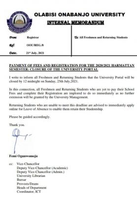 OOU school fees and registration deadline for 2020/2021 harmattan semester