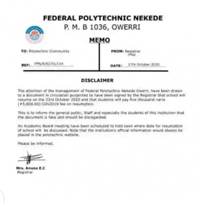 Federal Polytechnic Nekede disclaimer notice