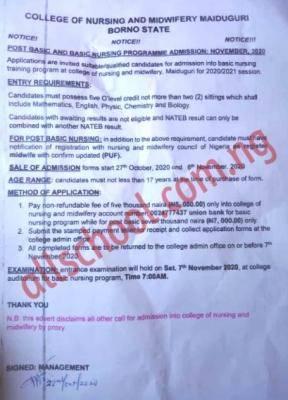 College of Nursing and Midwifery Maiduguri Post Basic & Basic Nursing admission forms, 2020/2021