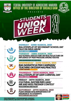 FUNAAB students' union week programme of events, 2021