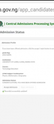 UNILORIN admission list, 2020/2021 out on JAMB CAPS