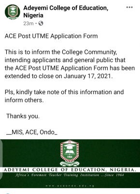 ACEONDO extends Post UTME Application for 2020/2021 session