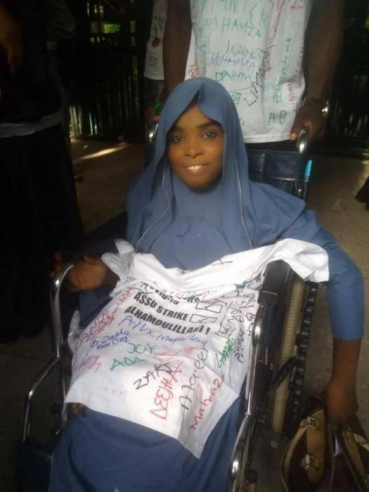 Physically challenged student celebrates her graduation from BUK