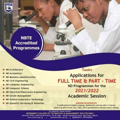 Redeemer's College of Technology and Management admission for 2021/2022 session