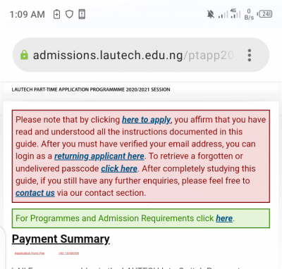 LAUTECH Part-time Admission Form for 2020/2021 Session