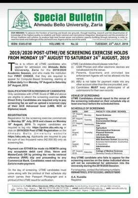 ABU Post-UTME/DE 2019: Cut-off mark, Eligibility, Screening Dates and Registration Details