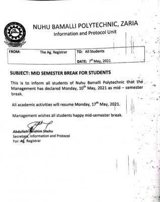 NUBAPOLY announces mid-semester break