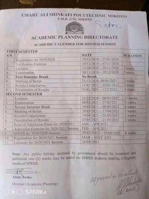 Umaru Ali Shinkafi Polytechnic revised academic calender, 2019/2020 session
