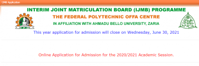 Offa Poly IJMB admission form for 2020/2021 session