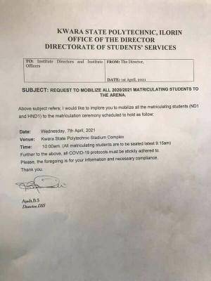 Kwara State Polytechnic matriculation ceremony for 2020/2021 session