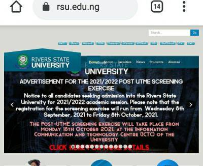 RSUST Post UTME 2021: Cut-Off Mark, Eligibility, and Registration Details