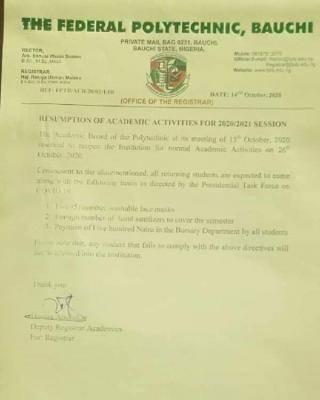 FEDPOLY Bauchi announces resumption date