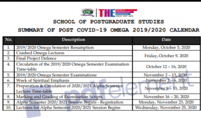 Covenant University postgraduate revised academic calendar, 2019/2020