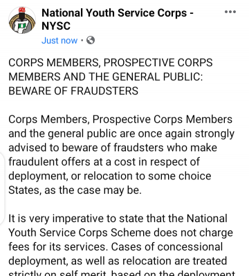 NYSC warns corps members against falling victims to fraudsters