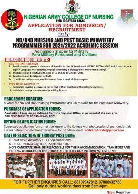 Nigerian Army College of nursing and midwifery 2021/2022 Admission form