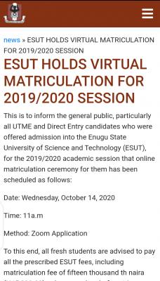 ESUT announces virtual matriculation ceremony for 2019/2020 session