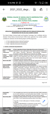 FCAHPT Vom (Affiliation with ATBU Bauchi) Degree and PGD admission forms, 2021/2022