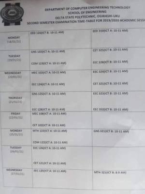 Delta Poly Ogwashi-uku 2nd semester Exam time table