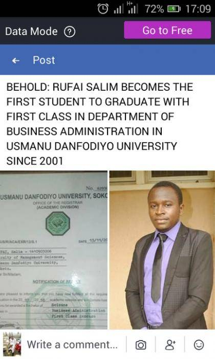 Student Breaks 17 Years First Class Records In Usmanu Danfodiyo University