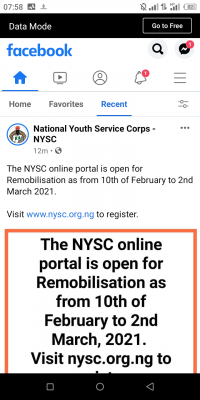 NYSC notice on opening of portal for remobilization