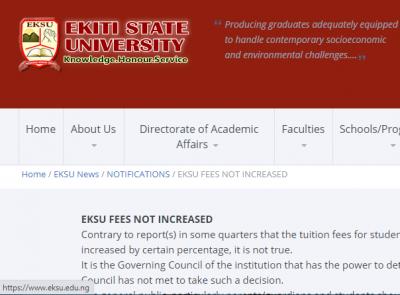 EKSU denies increment of school fees