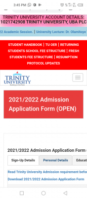 Trinity University Post-UTME 2021: Cut-off mark, Eligibility and Registration Details