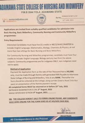 Adamawa State College of Nursing and Midwifery 2021/2022 September Admission
