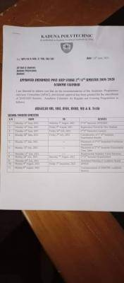 Kaduna Polytechnic adjusted academic calendar