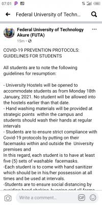 FUTA COVID-19 prevention protocols and guidelines for students