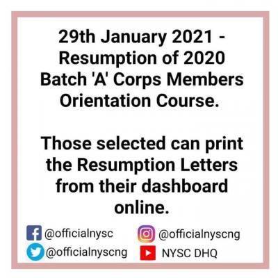 NYSC announces resumption date for the 2020 Batch A' orientation course