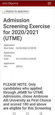 AAU extends Post-UTME registration for 2020/2021 session
