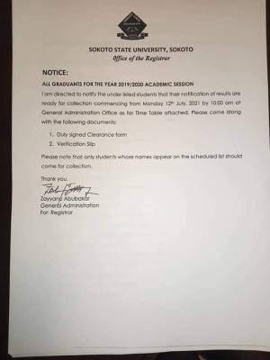 Sokoto State University notice to 2019/2020 graduands