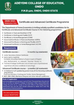 ACEONDO certificate & advanced certificate admission, 2020/2021