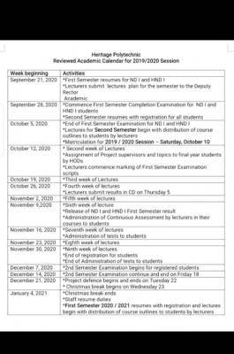 Heritage Polytechnic revised academic calendar for 2020/2021 session