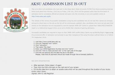 AKSU Admission List For 2018/2019 Session Out