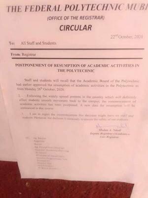 Federal Polytechnic Mubi postpones resumption of academic activities