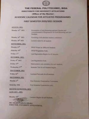 Fed Poly, Bida first semester academic calendar for affiliated programmes, 2020/2021