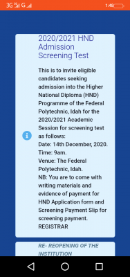 Federal Polytechnic Idah reschedules HND screening for 2020/2021 session