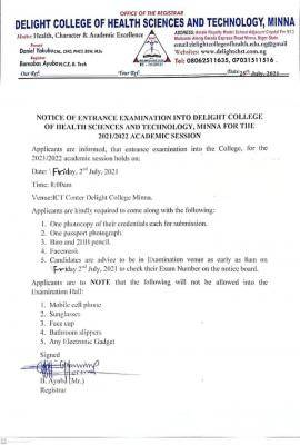 Delight College of Health Sciences and Technology entrance exam date